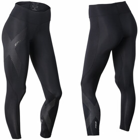 2XU Mid-Rise Compression Leggings Dames, black/dotted reflective logo